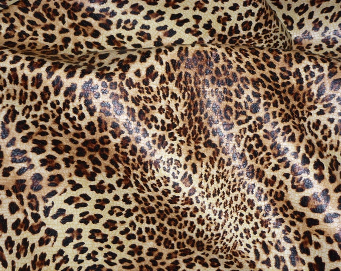 "Leather 8""x10"" Original SOFT Banana Leopard Print on BANANA YELLOW grain Cowhide 2.5-3 oz / 1-1.2 mm PeggySueAlso™ E2550-01"