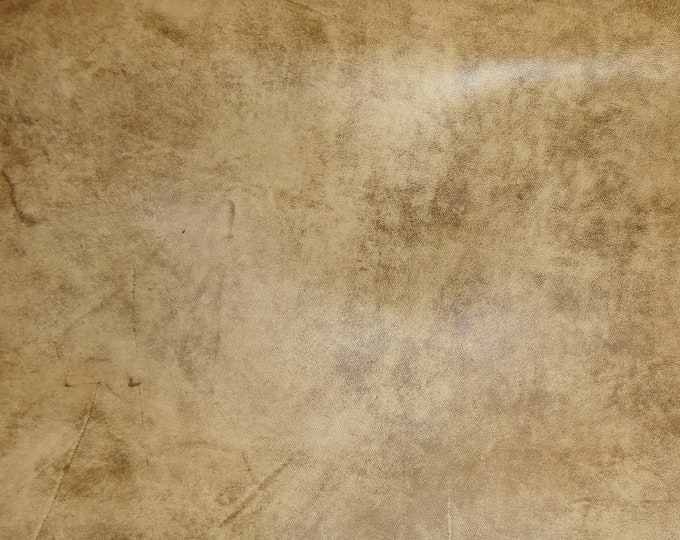 "Leather 5""x11"" Artisan Tie Dye CREAMY CAMEL Distressed Cowhide 3.5 oz / 1.4mm PeggySueAlso™ E2920-06"