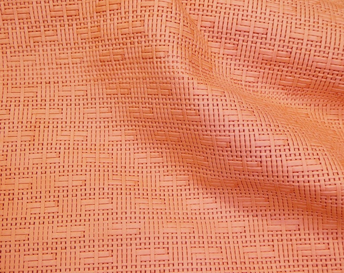 """Leather 12""""x12"""" Panama SALMON / LIGHT CORAL Basket Weave Embossed Cowhide 2-2.5 oz/ 0.8-1 mm PeggySueAlso™ E8000-14 hides too"""