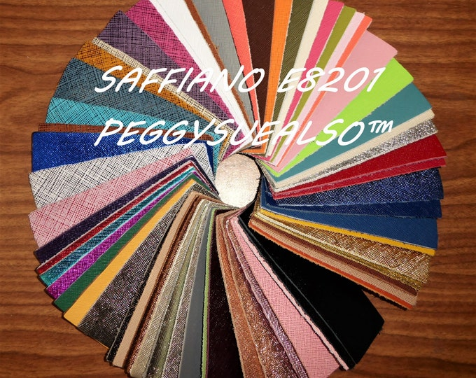"Leather 5""x11"" Saffiano and Metallic Saffiano Weave Embossed Cowhide 2.5-3oz/ 1-1.2mm PeggySueAlso™ E8201 hides available"