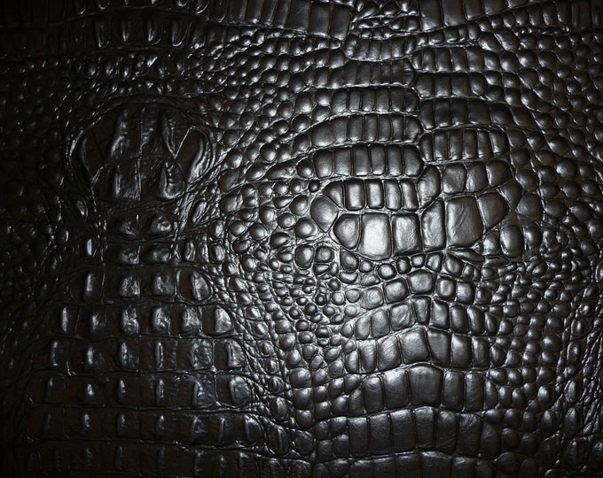 "Leather 8""x10"" Alligator BLACK Croc Embossed Cowhide 2.5-3oz/ 1-1.2 mm PeggySueAlso™ E2860-21"