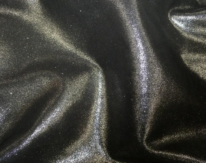 "Metallic Leather 8""x10"" Dazzle Silver on BLACK MAGIC Cowhide 2.5 oz / 1 mm PeggySueAlso™ E8300-07 hides available"