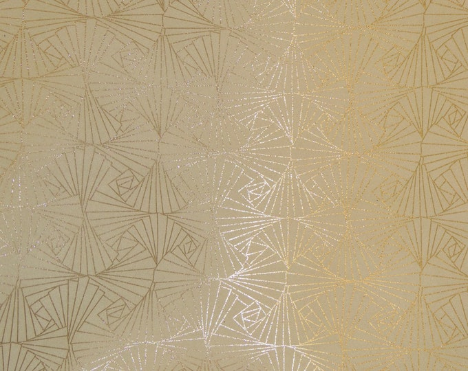 "Metallic Leather 12""x12"" CHINESE FAN Gold Metallic on Cream Cowhide 3.5 oz / 1.4 mm PeggySueAlso™ E1421-03"