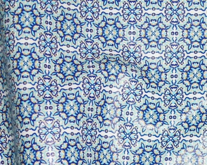 """Leather 3 sq ft STARBURST Pattern (1.5"""") Blue and White on COWHIDE 2.5-2.75 oz / 1-1.1 mm PeggySueAlso™ E1095-01A"""
