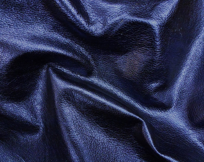 New SHINIER NAVY Pebbled Metallic 3-4-5 or 6 sq ft SOFT cowhide - shows the grain - Leather 3-3.25 oz / 1.2-1.3 mm PeggySueAlso™ E4100-07B