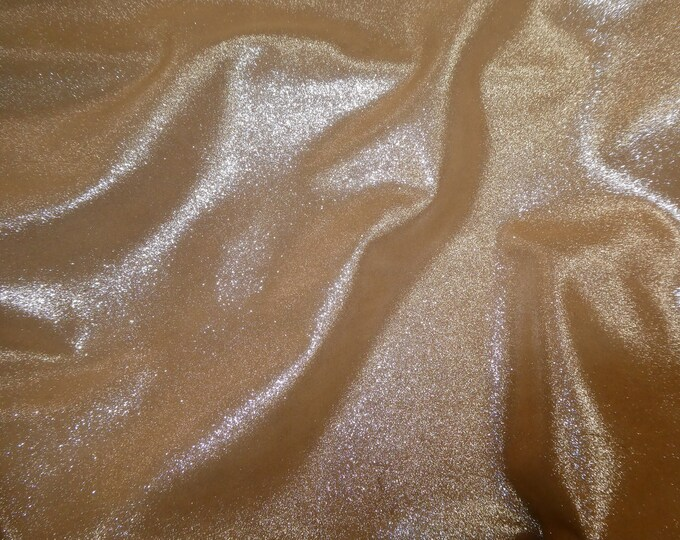 """Metallic Leather 8""""x10"""" Dazzle Silver on Dark CAMEL Silver Cowhide 3.5-3.75 oz / 1.4-1.5 mm PeggySueAlso™ E8300-32"""