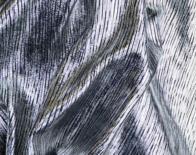 "NEW Leather 12""x12"" Rainy Day Metallic Stripes SILVER on BLACK Cowhide 3oz/1.2mm E1030-12"