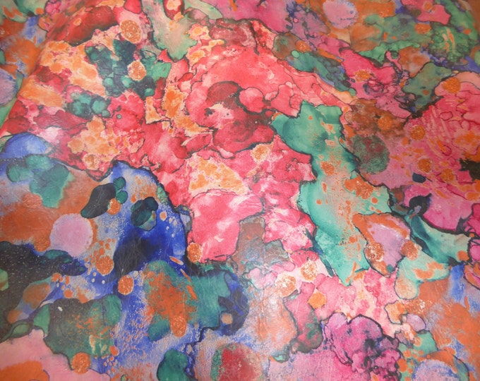 "Leather 12""x20"", 10""x24"" Abstract LAVA Pink Turquoise Navy Orange Print now on SMOOTH COWHIDE  2.5-3 oz /1-1.2 mm  PeggySueAlso™ E2176-07"