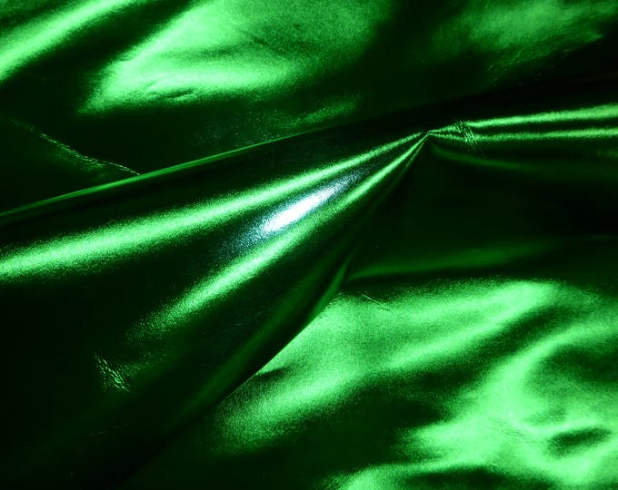 """Leather 12""""x12"""" smooth METALLIC foil Christmas Green Cowhide 2.25oz / .9mm  PeggySueAlso™ E2845-12"""