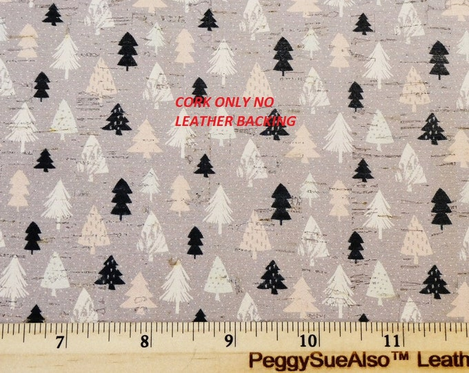 """ONLY CoRK 8""""x10"""" NO Leather Backing Holiday Trees on gray READ description carefully, Very Thin PeggySueAlso™ E5610-207C Winter Collection"""