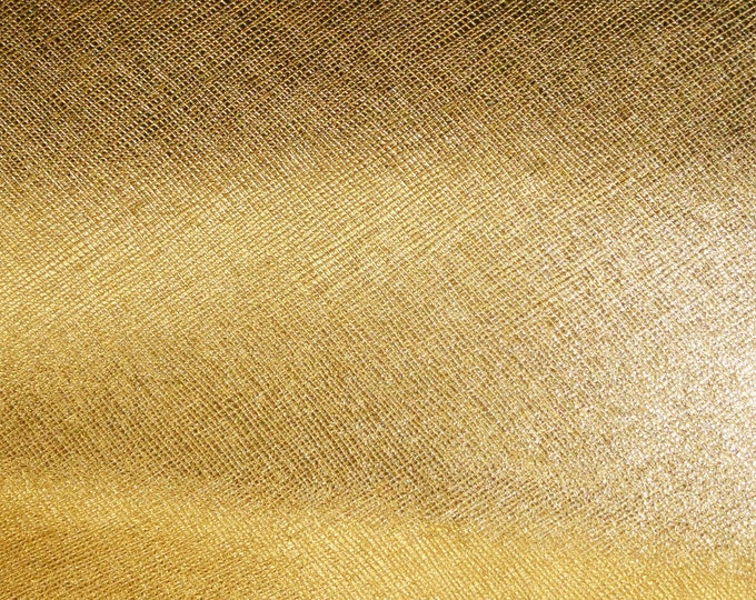 "Metallic Leather 8""x10"" Saffiano GOLD Metallic Weave Embossed Cowhide 2.5-3oz/ 1-1.2mm PeggySueAlso™ E8201-05 Hides available"