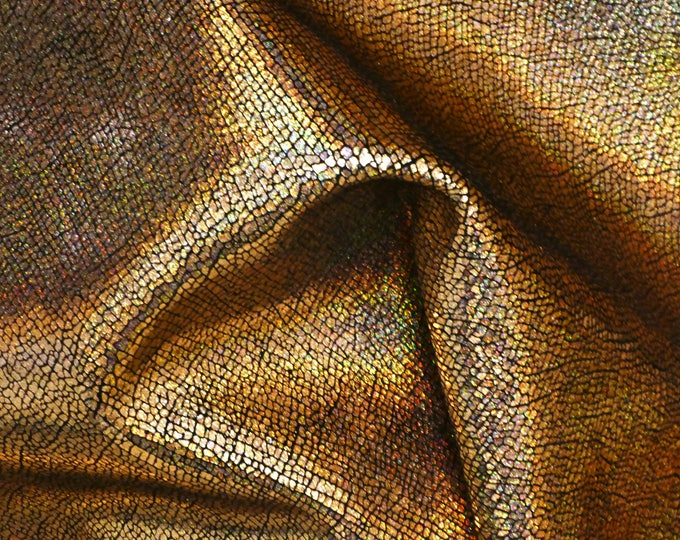 """Metallic Leather 5""""x11""""  CRACKED Gold Holographic Halo Cowhide 3-3.5 oz / 1.2-1.4 mm #600 PeggySueAlso™ E1401-02 limited"""