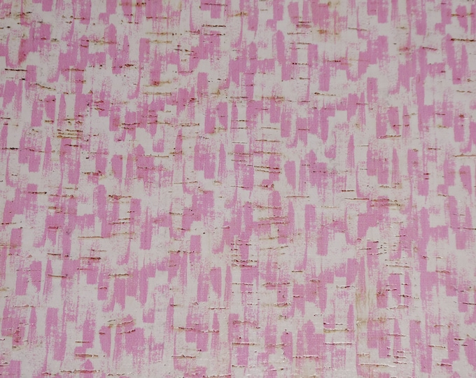 CORK 3-4-5 or 6 sq ft PINK Paint Brush Strokes on white CORK applied to Leather for body /strength Thick 5oz/2mm E5610-100