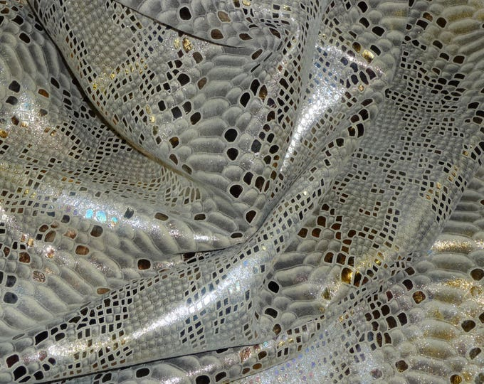 "Metallic Leather 12""x12"" Mystic Python TRI COLOR Iridescent on BEIGE Calfskin #4478 2.5oz / 1.1 mm PeggySueAlso™ E2868-04 hides available"