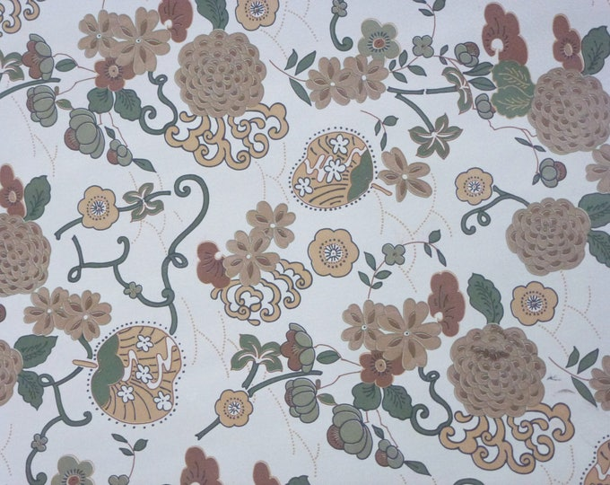 Leather 3 - 5 sq ft ORIENTAL Flowers on Off White / Light Gray Cowhide 3 oz / 1.2 mm PeggySueAlso™ Trial E5300-01