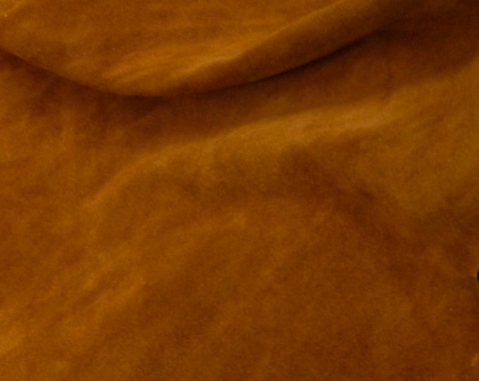 """Suede Leather 8""""x10"""" TOAST / Tobacco Suede Garment Grade SUEDE Cowhide 3.5-4 oz / 1.4-1.6 mm PeggySueAlso™ E2826-02 hides available"""