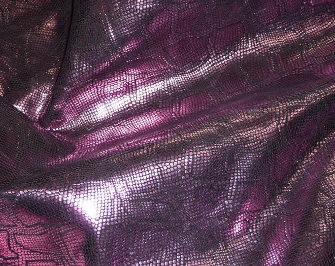 "Leather 8""x10""  Metallic Diamond Python PASSION PINK on BLACK embossed Cowhide 2.75-3 oz /1.1-1.2 mm PeggySueAlso™ E8140-02"