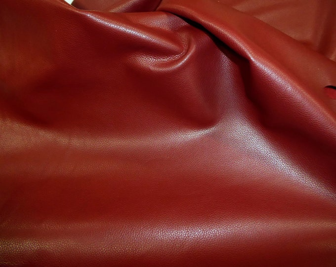 "Leathers 12""x12"" Divine DARK RED top grain Cowhide 2-2.5 oz /.8-1mm PeggySueAlso™ E2885-28 Full hides available"