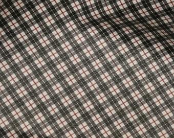 "ReSTOCKED Leather 8""x10"" BLACK TARTAN PLAID Print white background Red stripe Cowhide 3-3.5 oz / 1.2-1.4 mm PeggySueAlso™ E2178-01"