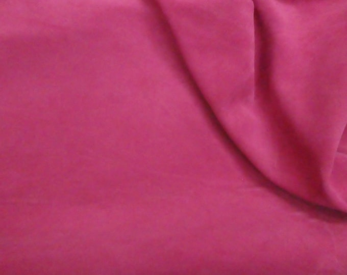 """Suede Leather 8""""x10"""" Brilliant ROSE Pink Garment Grade Cowhide 3.25-3.75 oz /1.3-1.5 mm PeggySueAlso™ E2825-22 hides available"""