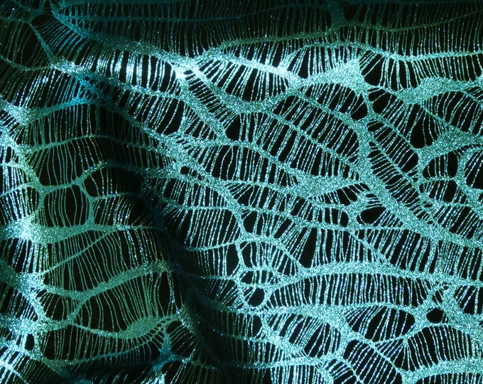 Metallic Leather 3-4-5 or 6 sq ft Complex Spider Web TURQUOISE / Black Soft Cowhide 3.5-3.75oz /1.4-1.5mm PeggySueAlso™ E3113-06