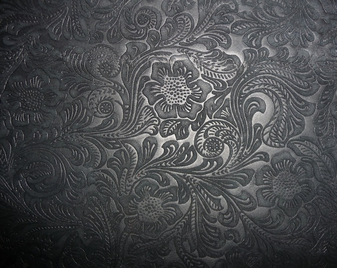 """SUEDE Leather 20""""x20"""" Etched Daisy BLACK Floral Cowhide No shine, Matte 3.5 oz / 1.4 mm PeggySueAlso™ E2875-06 Full hides available"""