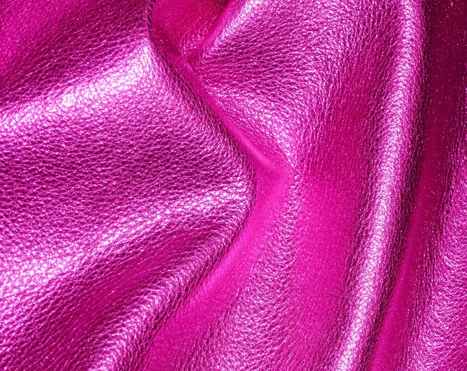 """HOT PINK Pebbled Metallic 20""""x20"""" - shows the grain - cowhide Leather 2.5-3 oz / 1-1.2 mm PeggySueAlso™ E4100-12"""
