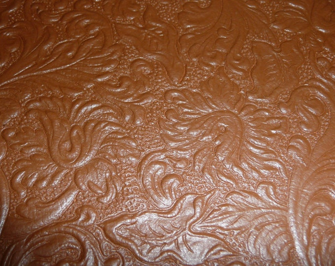 """Leather 12""""x12"""" Western SADDLE Embossed OAK TAN Brown  Embossed Divine Cowhide 2-2.5oz / 0.8-1 mm PeggySueAlso™ E2816-04"""
