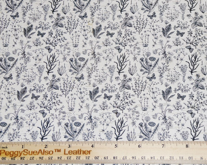 """Cork 5""""x11"""" VINTAGE WILD FLOWERS Charcoal Black on White CoRK Thick 5.5 oz/2.2 mm PeggySueAlso™ E5610-285"""
