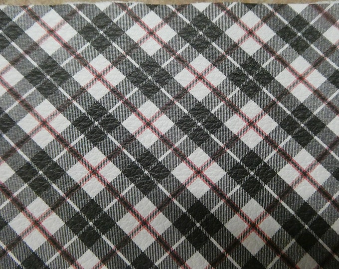 "Leather 12""x12"" Tartan Plaid Print BLACK RED Stripe on White Cowhide 3-3.5 oz / 1.2-1.4 mm PeggySueAlso™ E2178-01 Limited"