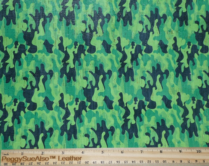 """Cork Genuine Leather 12""""x12"""" CAMO CORK Bright GREEN applied Cowhide 4 body/strength Thick 5oz/2mm PeggySueAlso™ E5610-27"""