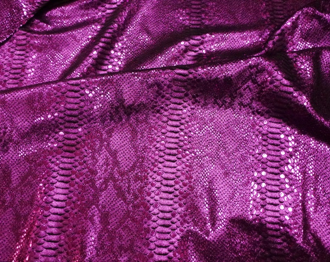 "Metallic Leather 8""x10"" Mystic Python M FUCHSIA / Hot Pink on BLACK Suede Cowhide 2.75-3 oz/1.1-1.2 mm PeggySueAlso™ E2868-42 hides too"