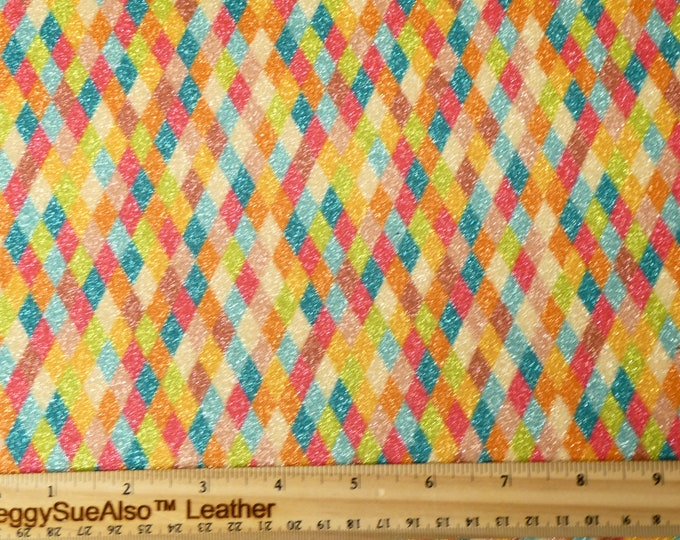 """NEW FINE Glitter 8""""x10"""" Colorful DIAMONDS Glitter Fabric applied to Leather Thick 5.5-6 oz /2.2-2.4 mm PeggySueAlso™ E4360-10"""