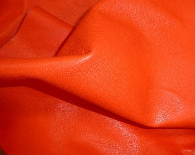 """Leather 12""""x12"""" Divine Bright ORANGE top grain Cowhide 2.5 oz / 1 mm PeggySueAlso™ E2885-11 hides available"""