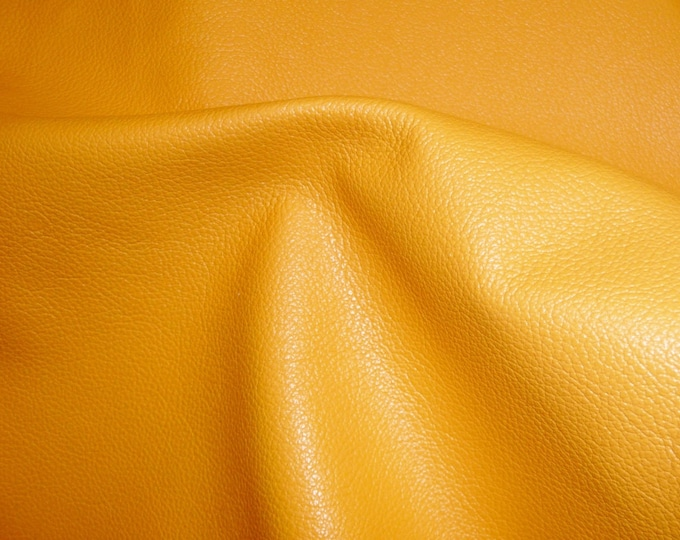 "Leather 20""x20"" Divine LIGHT MUSTARD YELLOW Top Grain Cowhide 2-2.5 oz /1-1.2mm  PeggySueAlso™ E2885-10 Full hides available"