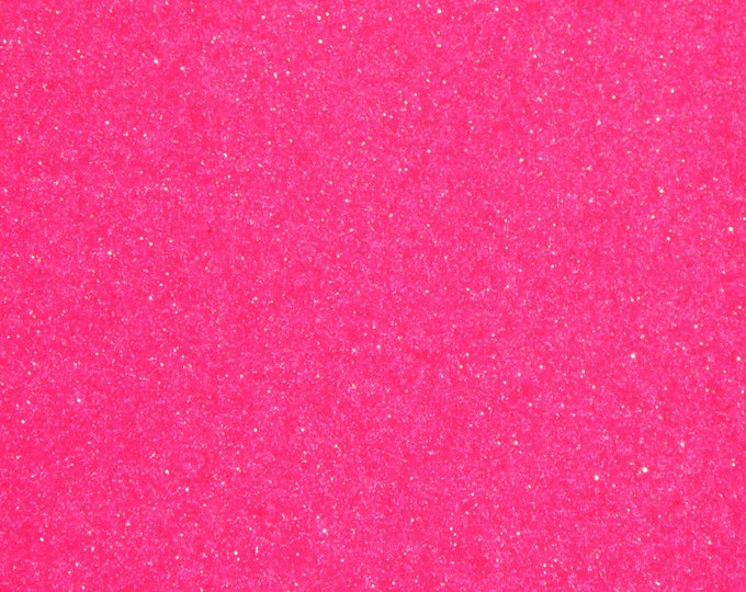 """8""""x10"""" FLAMING Neon Hot PINK Fabric Fine GLITTER (not chunky) applied to Leather THiCK 5.5oz/2.2 mm PeggySueAlso™ E4355-41"""