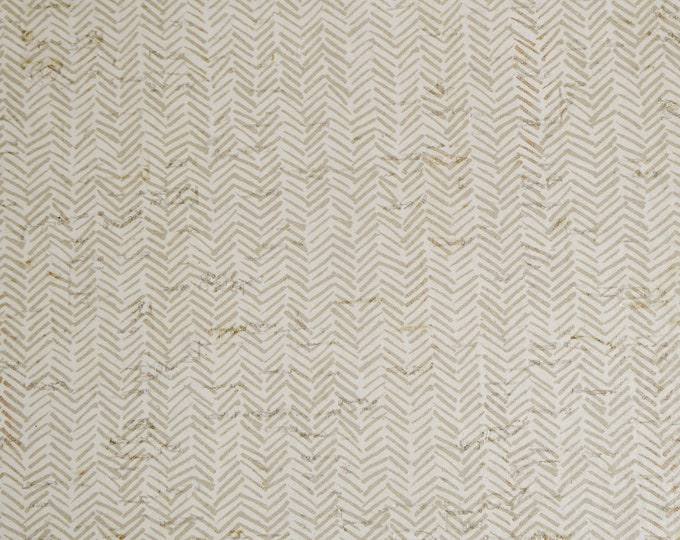 """CORK Version 12""""x12"""" TAUPE Tiny Broken Chevron on off white Cork on Leather for body/strength Thick 5.5oz/2.2mm E5610-232"""