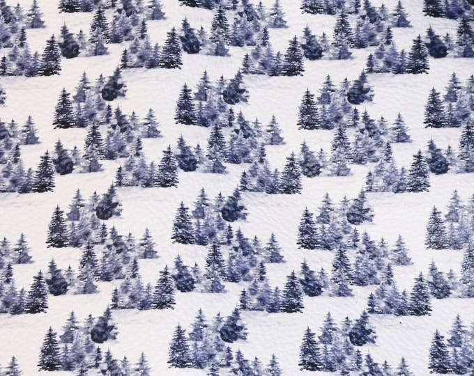 """Leather Version 12""""x12"""" TREE FARM in the SNOW Cowhide 3-3.5 oz/1.2-1.4 mm PeggySueAlso™ E4805-03 Winter Collection"""