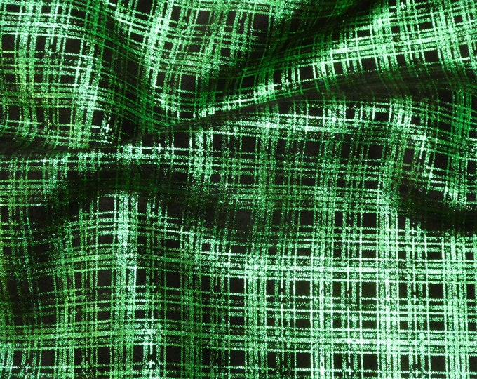 """Metallic Leather 12""""x12"""" PLAID  Emerald GREEN on Black Cowhide 3.5 oz / 1.4 mm PeggySueAlso™ E6529-03 Hides Available"""
