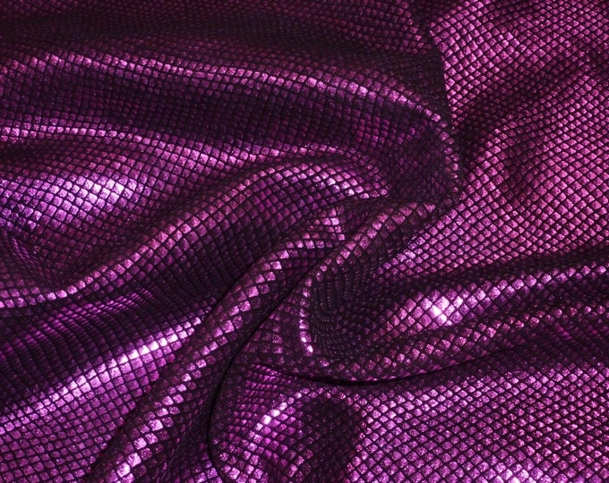 """Metallic  Leather 12""""x20"""" or 10""""x24"""" or 15""""x15"""" Fish Scales FUCHSIA on BLACK Cowhide 3-3.5 oz / 1.2-1.4mm PeggySueAlso™ E3400-17"""