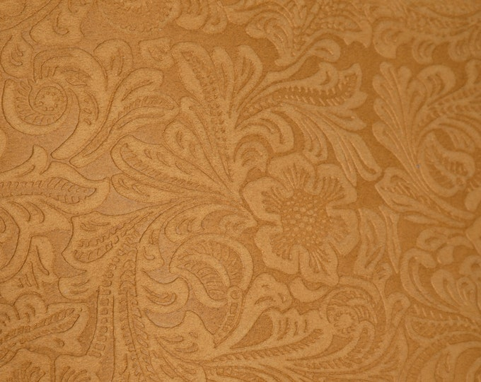 "SUEDE Leather 8""x10"" Etched DAISY TAN Floral Pressed Design Matte Cowhide 3.5 oz / 1.4 mm PeggySueAlso™ E2875-11 Full hides available"