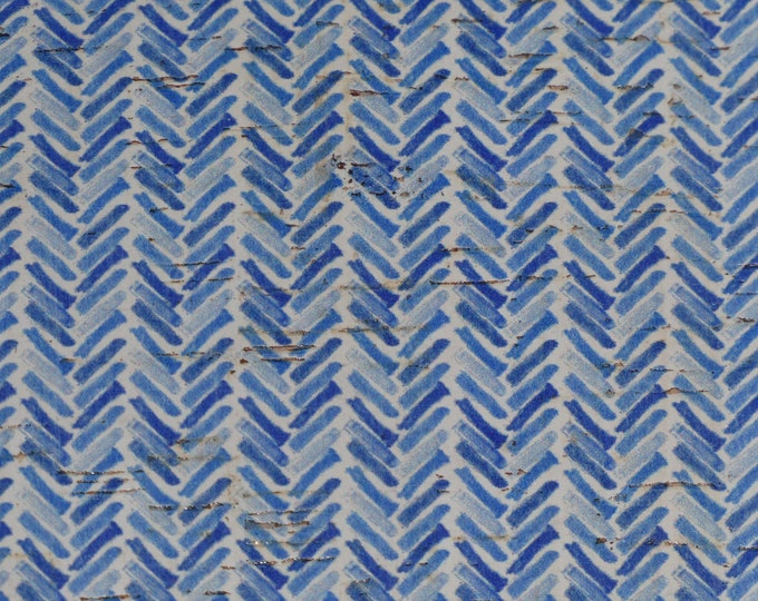 "Cork Version 8""x10"" Watercolor BROKEN CHEVRON Blue and White applied to CoRK on Leather 4 body/strength Thick 5oz/2mm E5610-124"