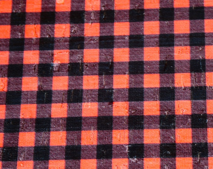"NeW CoRK 12""x12"" PETITE (smaller) version BLACK & RED Buffalo Plaid Cork applied to Cowhide Thick 5 oz/2 mm PeggySueAlso™ E5610-224"
