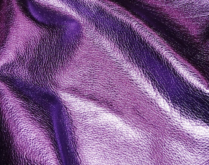 """PURPLE Pebbled Metallic 10""""x24"""" or 12""""x24"""" or ? - shows the grain - cowhide Leather 2.5-3 oz / 1-1.2 mm PeggySueAlso™ E4100-17"""
