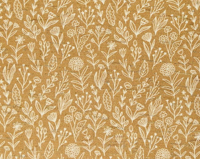 "Cork 12""x12"" White MEADOW FLOWERS on MUSTARD Cork applied to Leather for body & strength Thick 5.5oz/2-2.2 mm PeggySueAlso™ E5610-181"