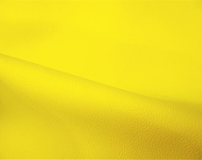 "NEON Leather 8""x10"" PEBBLED Yellow Neon Soft Cowhide shows the grain 2.75-3 oz / 1.1-1.2 mm PeggySueAlso™ E2530-03B"