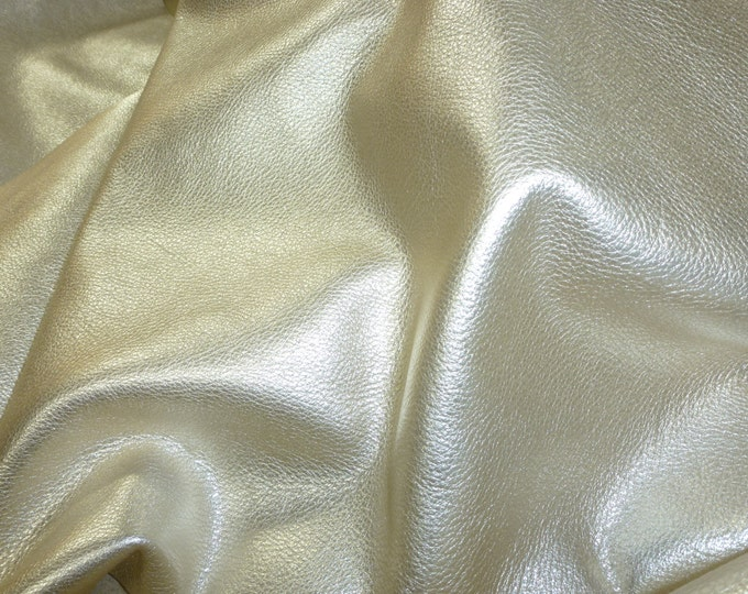 "PLATINUM Pebbled Metallic 8""x10"" SOFT cowhide  shows the grain Leather 3-3.25 oz / 1.2-1.3 mm PeggySueAlso™ E4100-02"