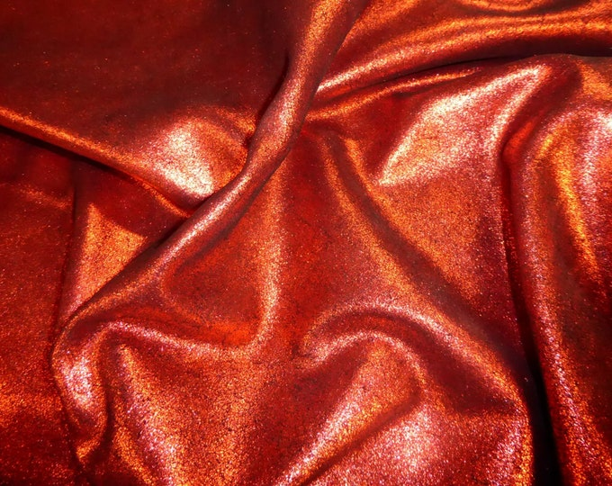 Leather 3 or 4 or 5 or 6 sq ft Vintage Crackle RED Metallic  on BLACK Calfskin 3.5-4 oz / 1.4-1.6 mm PeggySueAlso™ E2844-01