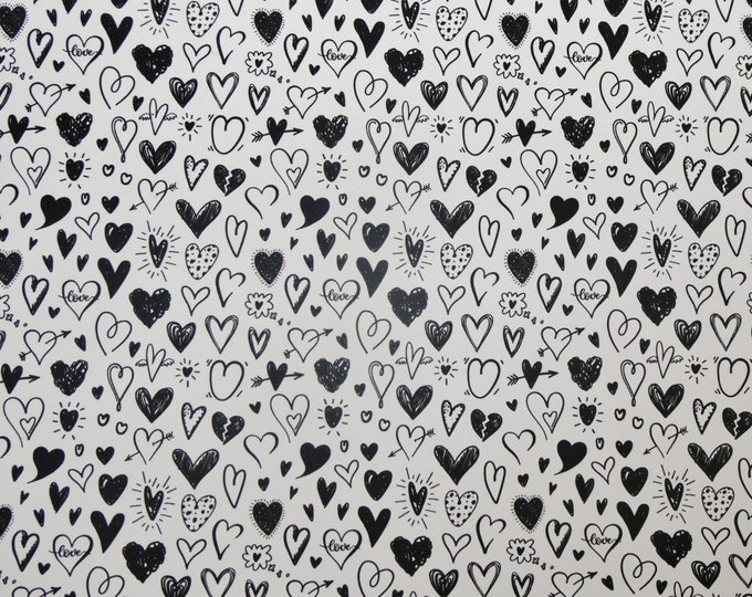 "Leather 5""x11"" COLLECTION of HEARTS on White Smooth / FiRM (not soft) 3-3.25oz/1.2-1.3mm PeggySueAlso™ E5610-132 Valentine"