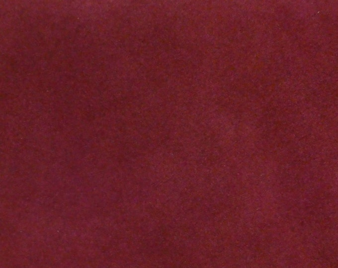 "Suede Leather 8""x10"" BURGUNDY / Maroon Garment Grade Cowhide 3.5-4 oz / 1.4-1.6 mm PeggySueAlso™  E2827-04 hides available"